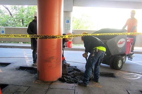repairing parking facility floor concrete