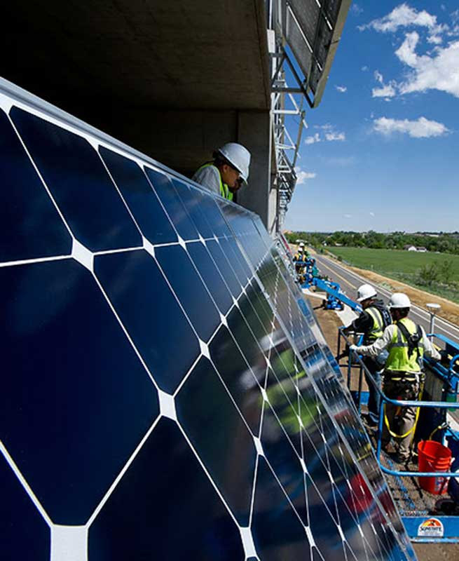PArking Garage Solar Panel BEing Worked on
